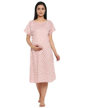 Wobbly Walk Polka Dots Printed Half Sleeves Maternity Night Gown - Peach