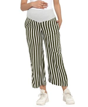 Wobbly Walk Striped Full Length Maternity Loose Pants - Green