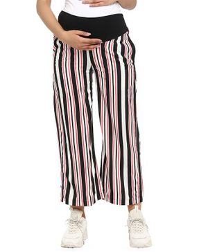 Wobbly Walk Striped Full Length Maternity Loose Pants - Multi Color