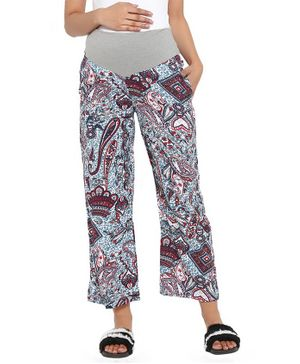 Wobbly Walk Paisley Print Full Length Maternity Pants - Multi Color
