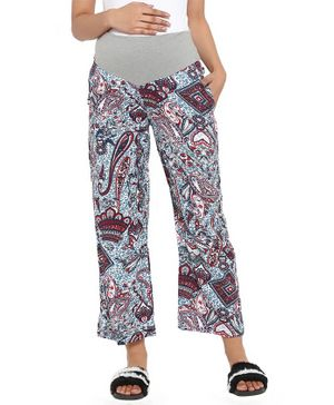 Wobbly Walk Printed Full Length Maternity Pants - Multicolor