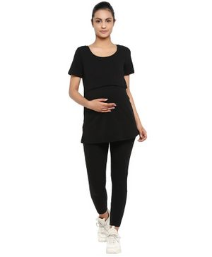 Wobbly Walk Solid Short Sleeves Maternity & Feeding Top With Leggings - Black