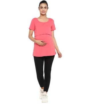 Wobbly Walk Solid Short Sleeves Maternity & Feeding Top With Leggings - Pink