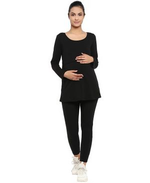 Wobbly Walk Solid Full Sleeves Maternity & Feeding Top With Leggings - Black