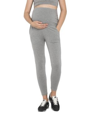 Wobbly Walk Over Belly Maternity Full Length Elasticated Leggings - Grey