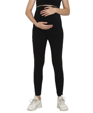Wobbly Walk Over Belly Maternity Full Length Elasticated Leggings - Black