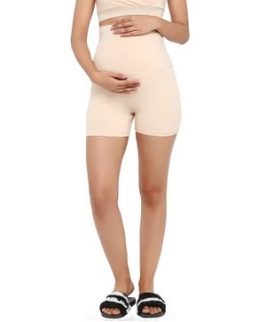 Wobbly Walk Over Belly Maternity Shorts - Beige