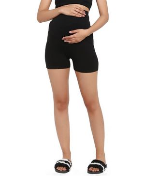 Wobbly Walk Over Belly Maternity Shorts - Black