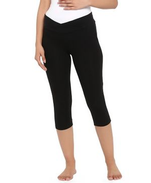 Wobbly Walk Solid Crossover Under Belly Maternity Capri - Black