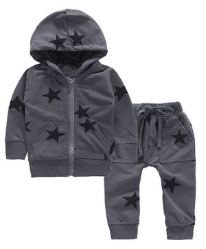 Pre Order - Awabox Star Print Full Sleeves Hooded Jacket With Bottom - Grey