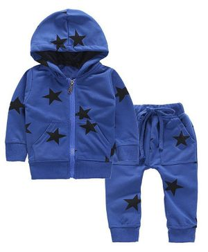 Pre Order - Awabox Star Print Full Sleeves Hooded Jacket With Bottom - Blue