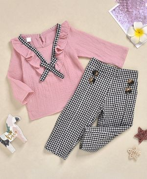 Pre Order - Awabox Solid Full Sleeves Top With Checkered Elasticated Pants  - Pink