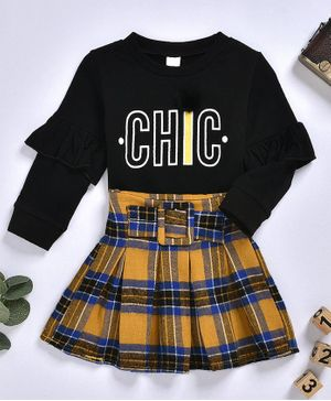 Pre Order - Awabox Chic Printed Full Sleeves Top With Elasticated Skirt - Black