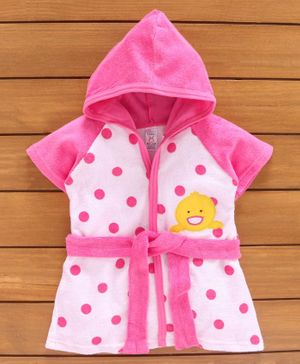 Pink Rabbit Short Sleeves Hooded Bath Robe Animal Patch - Pink