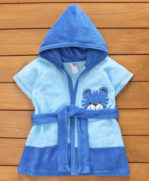 Pink Rabbit Half Sleeves Hooded Bath Robe Tiger Patch - Blue