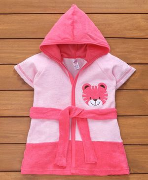 Pink Rabbit Half Sleeves Hooded Bath Robe Tiger Patch - Pink
