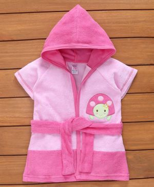 Pink Rabbit Half Sleeves Bath Robe Tortoise Patch - Pink