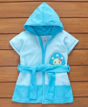 Pink Rabbit Half Sleeves Hooded Bath Robe Tortoise Patch - Blue
