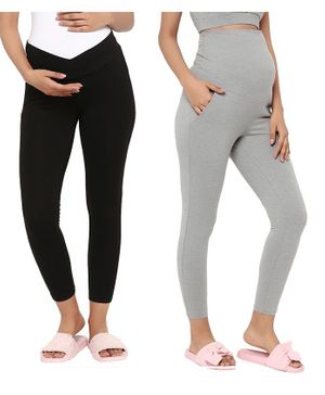 Wobbly Walk Solid Full Length Pack Of 2 Over Belly & Under Belly Maternity Leggings - Black & Grey