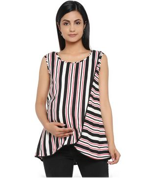 Wobbly Walk Sleeveless Striped Maternity Top - Multi Colour