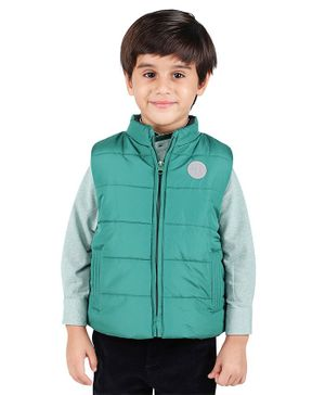 One Friday Solid Sleeveless Jacket - Green