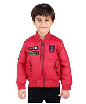 One Friday Crew Only Patch Full Sleeves Jacket - Red