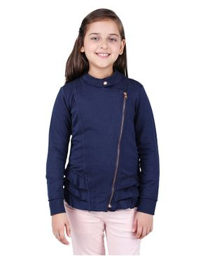 One Friday Front Zip Full Sleeves Jacket - Navy Blue