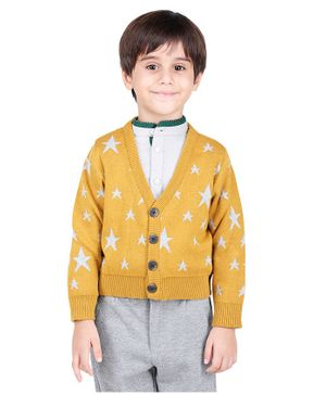 One Friday Star Pattern Full Sleeves Sweater - Yellow