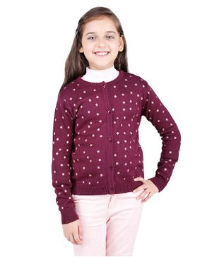 One Friday Star Pattern Full Sleeves Sweater - Maroon
