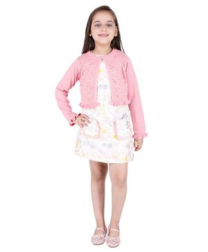 One Friday Flower Embroidered Full Sleeves Sweater - Pink