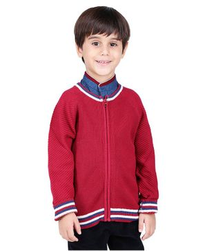 One Friday Front Zip Full Sleeves Sweater - Red