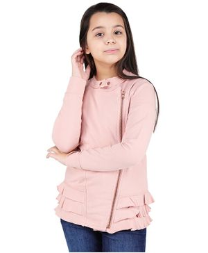 One Friday Solid Full Sleeves Ruffled Jacket - Pink