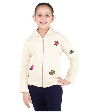 One Friday Star Patch Full Sleeves Hooded Jacket - Cream