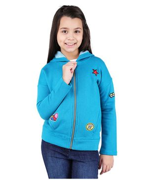 One Friday Star Patch Full Sleeves Hooded Jacket - Blue