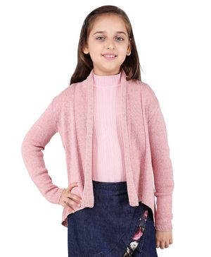 One Friday Solid Full Sleeves Cardigan - Pink