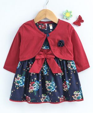 Tango Frock With Full Sleeves Shrug Floral Print - Red Navy Blue