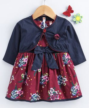 Tango Frock With Full Sleeves Shrug Floral Print - Maroon Navy Blue