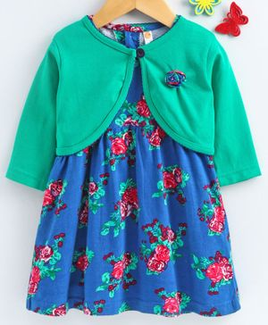 Dew Drops Frock With Full Sleeves Shrug Rose Print - Green Blue Red