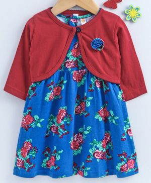 Dew Drops Frock With Full Sleeves Shrug Rose Print - Blue Red