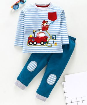 Babyhug Full Sleeve Striped Tee With Lounge Pants Firefighter Print - Blue