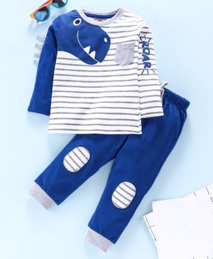 Babyhug Full Sleeve Striped Tee With Lounge Pants Dino Print - Blue White
