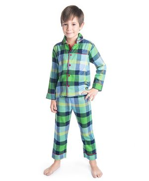 Cherry Crumble California Checkered Full Sleeves Night Suit - Green