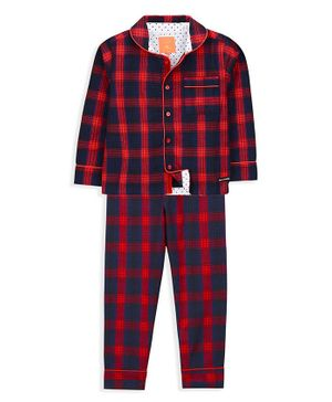 Cherry Crumble California Full Sleeves Checkered Night Suit - Blue & Red