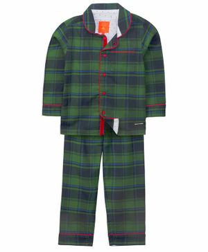 Cherry Crumble California Full Sleeves Checkered Night Suit - Green