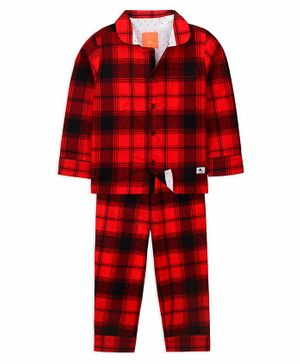Cherry Crumble California Full Sleeves Checkered Night Suit - Red