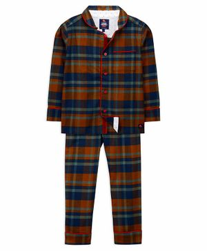 Cherry Crumble California Full Sleeves Checkered Night Suit - Multi Colour