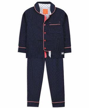 Cherry Crumble California All Over Polka Dot Printed Full Sleeves Night Suit - Navy Blue