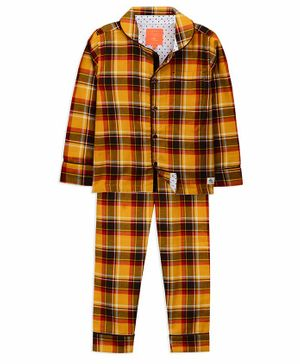 Cherry Crumble California Full Sleeves Checkered Night Suit - Yellow