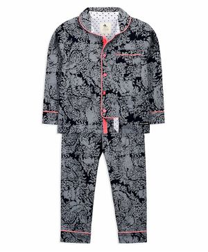 Cherry Crumble California Full Sleeves Brocade Print Night Suit - Grey
