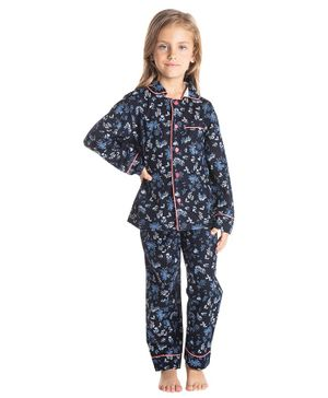 Cherry Crumble California Full Sleeves Floral Print Night Suit - Blue